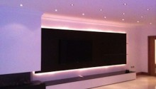 Ambient lighting around wall mounted TV