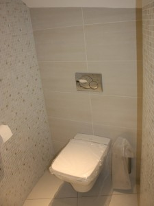 Mosaic tiled cloakroom